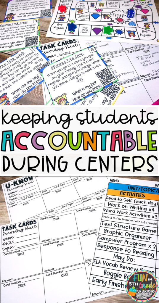Check out this post for strategies to help you hold students more accountable during center time to make them work in your classroom. Recording sheets included to use with task cards or U-Know games! #centertime #upperelementary #upperelementarycenters
