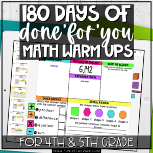 180 Days of Math Warm Ups for 4th and 5th Grade