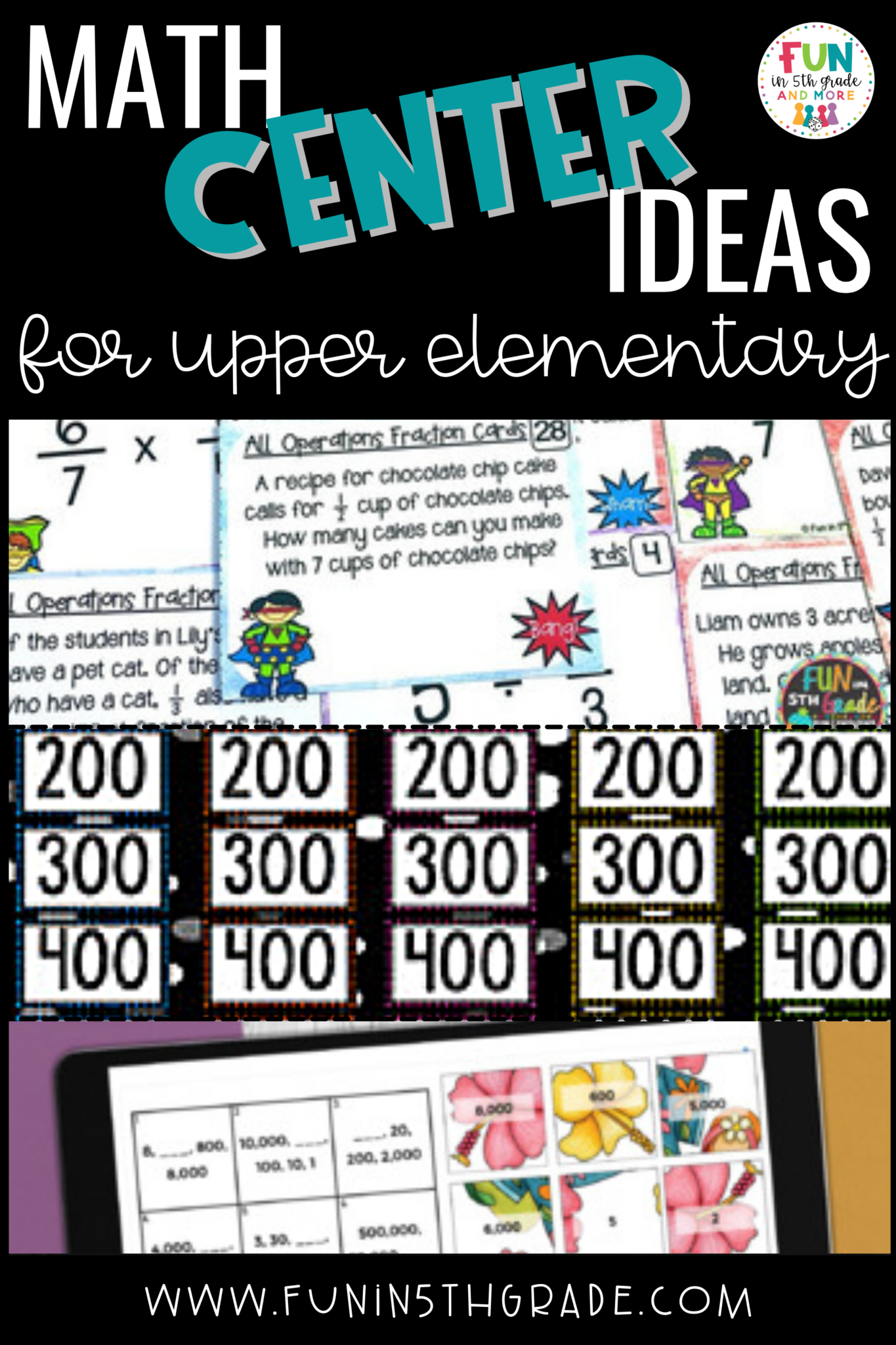 math center ideas for upper elementary pin