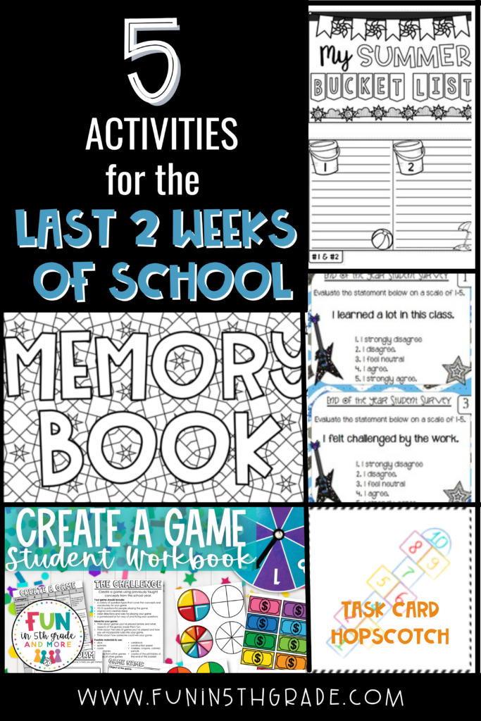 5 End of Year Activities for the Last 2 weeks of school Pin Image
