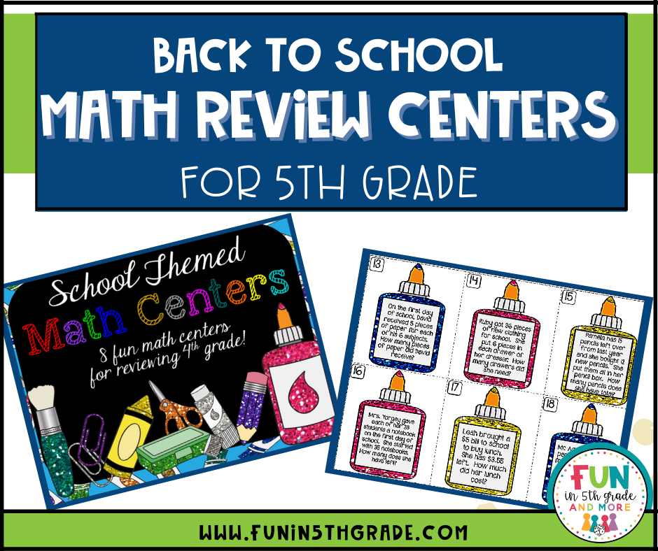 back to school math review centers for 5th grade