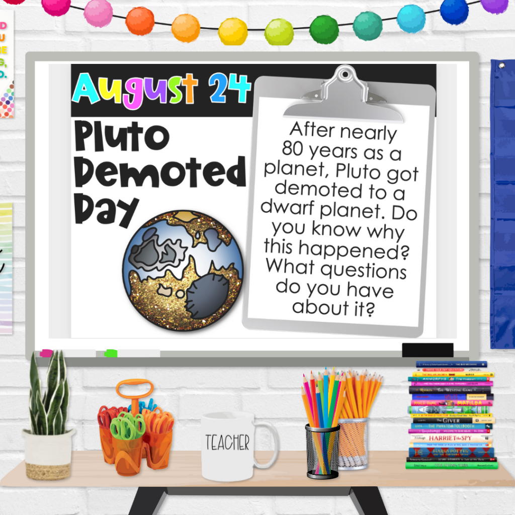 Holiday of the Day Writing Prompts (Pluto Demoted Day Slide)